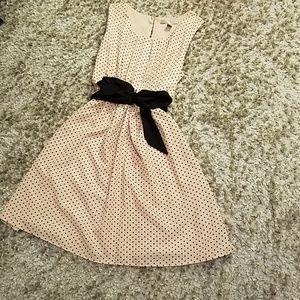 Tie front polkadot dress